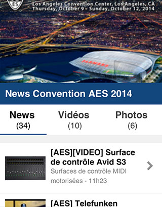 Aperçu des news de la Convention AES 2014 sur mobile